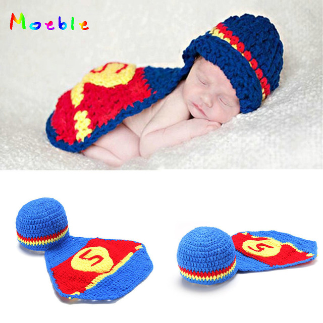 e414a9f5f4a Crochet Superman Newborn Boys Outfits Latest Super Hero Costume Infant Baby  Halloween Clothing Crochet Hat Cape Set MZS-14029