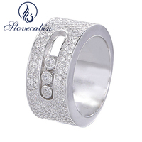 Slovecabin France Hot Sale Solid 925 Sterling Silver Thick Ring For Women Three Move Stone Big