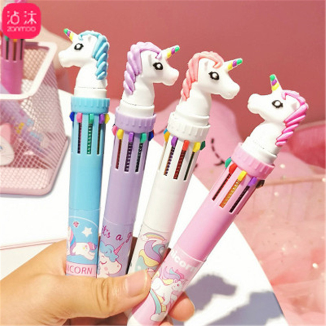 10 In 1 Colorful Kawaii Cartoon Dream Unicorn Ballpoint Pen Lovely Animal Multicolor Writing Ball Pens School 5