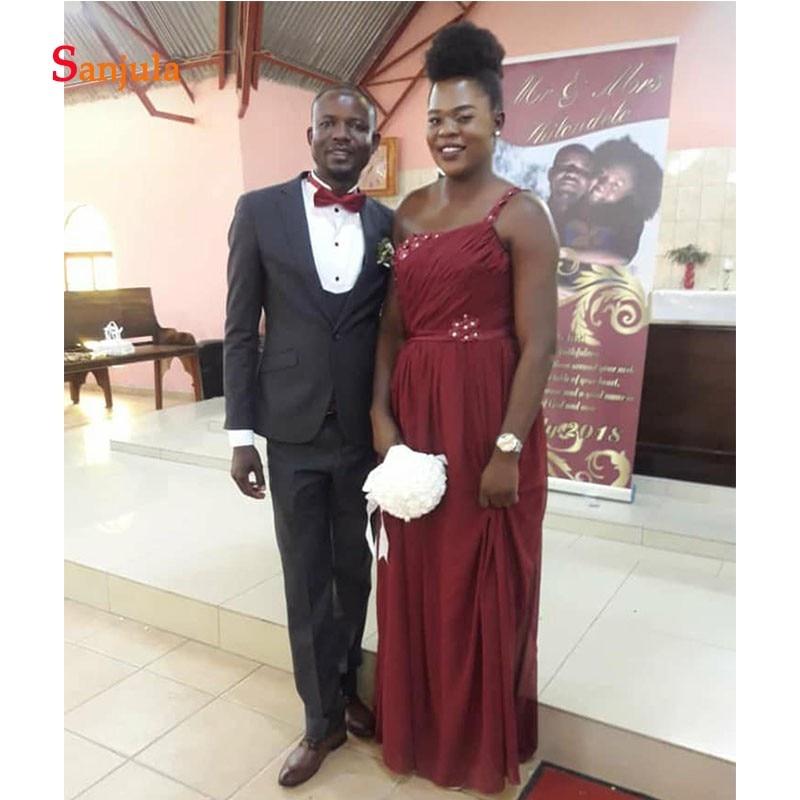 Une épaule bordeaux mousseline de soie robes de demoiselle d'honneur plis perlés robes de mariée africaines robes de boda invitados D540 - 2