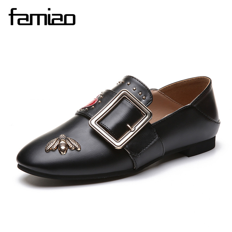 brand design Fashion Flat Shoes Loafers Casual Woman Flats shoes Slip On Comfort Solid Women Shoes spring big metal buckle charming nice siketu 2017 fashional women flats shoes slip on comfort shoes flat shoes loafers best gift drop shipping y30
