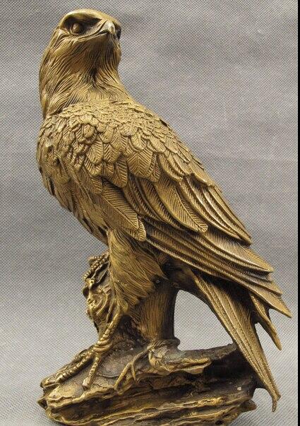 JP S0608 9″ Folk China Bronze Decorate Fly Bird King Eagle Hawk Lanneret Statue Sculpture Discount 35%