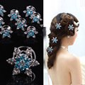 colorful cystal snow Spiral holder hair clips Bun hairpins Accessories decoration Lady girl women wedding party etc