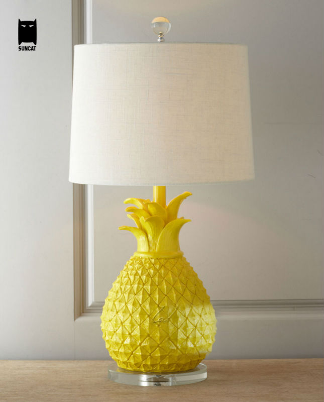 Resin Fabric Shade Pineapple Desk Lamp Fixture Modern