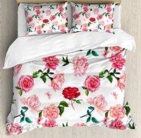 Dusty Rose Duvet Cover Set Victorian Garden Theme Botanical Flourish Fresh Camellia Peony Watercolor 4 Piece Bedding Set