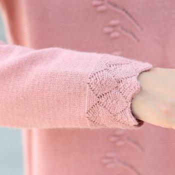 Women Sweaters Dress Pullovers 2019 New Winter Warm Long Knitted Sweater Knitwear Poncho Tunics Gray Black Beige Plus Size D005 6