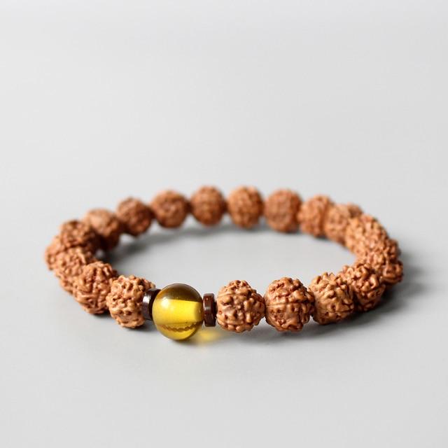 f5cf2c49fc17 WholesaleTibetan Budista Rudraksha Cuentas Pulsera Unisex Natural Madera  Granos de la Semilla Étnica Joyas Pulsera Meditación