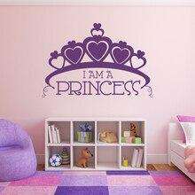 Big Crown Wall Decal Im a Princess Text Vinyl Sticker Home Girls Room Decor Heart Shape Mural Decals AY1544