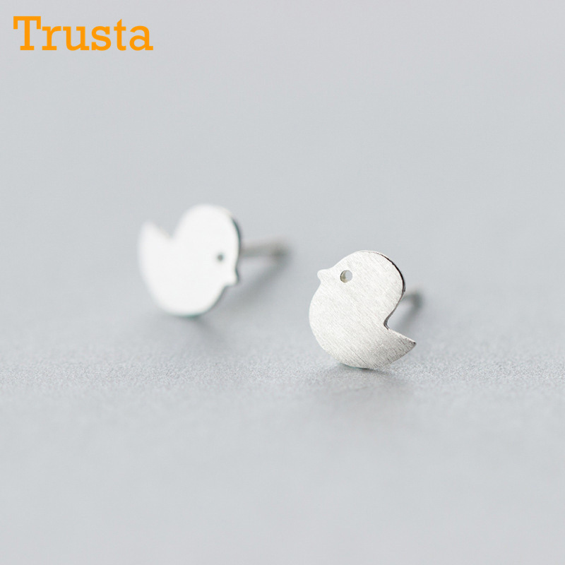 Trusta Newest 925 Sterling Silver Womens Jewelry Fashion Tiny 7mmX7mm Chicken Stud Earrings Gift For Girls Kid Lady Women DS124