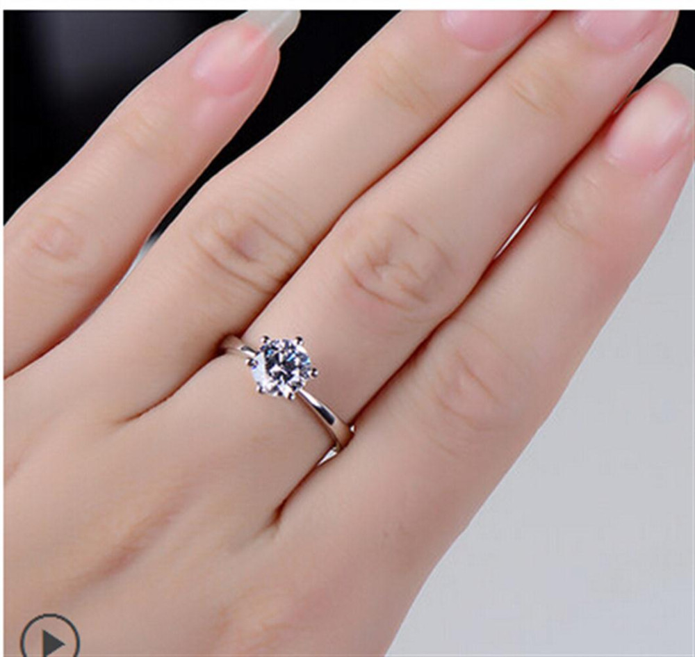 Genuine 925 Sterling Silver Engagement Rings for Women Brand Design ...