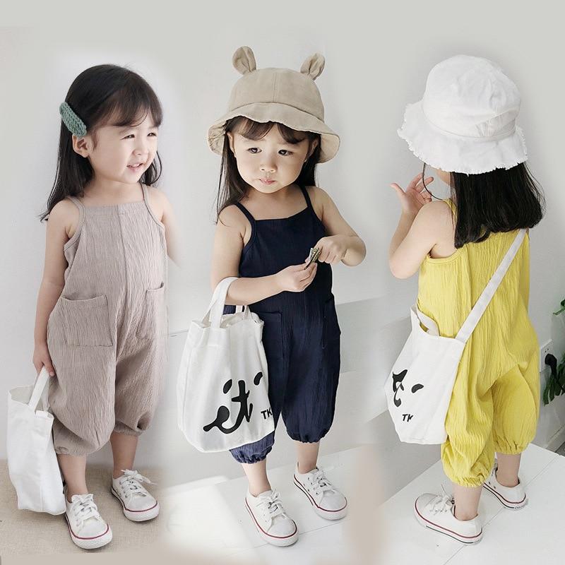 Южная Корея новый летний детский комбинезон универсальные слинг и Хлопковые Штаны