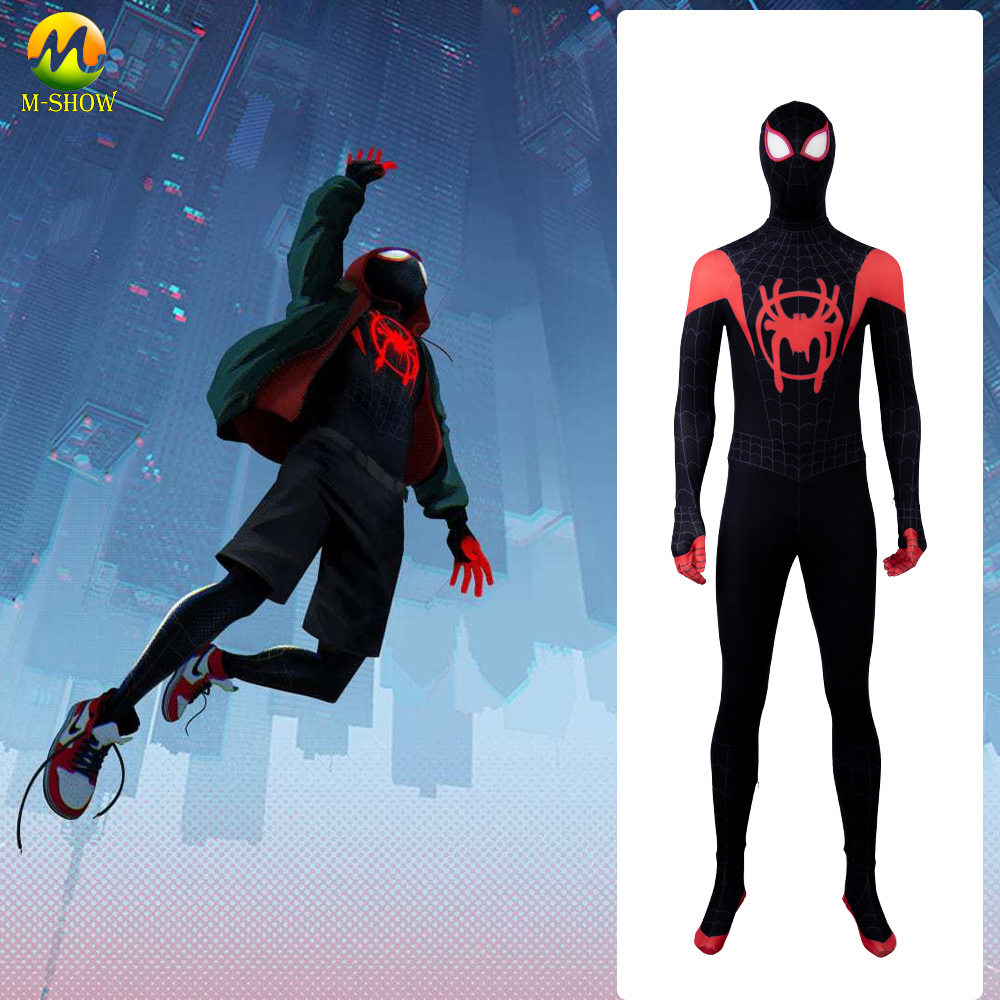 Spider-Man: Into the Spider-Verse Miles Morales Cosplay Costume Zentai Spiderman Pattern Bodysuit Jumpsuits For Knds And Adult