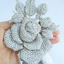 """Великолепный 5,1"""" Свадебный прозрачный австрийский кристалл роза цветок брошь булавка, кулон EE02994C3"""