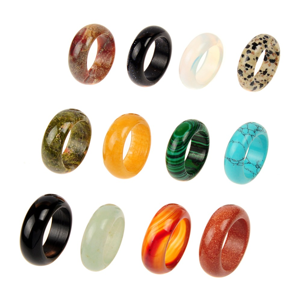 Wholesale 8mm Wide Mixed Natural Stone Sodalite Green Aventurine Carnelian Crystal Lucky Ring Jewelry 20pcs/lot Free Shipping