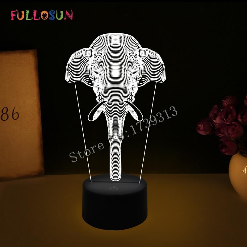 Amazing 3D Illusion led Table  Lamp Night Light with animal elephant shape   FS-2837