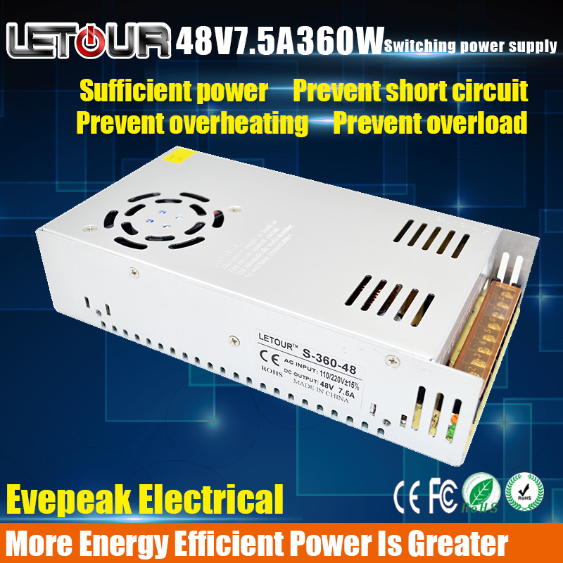 New 48V7.5A 500W Power Supply AC 96V-240V Input DC 48V Power Supply 360W LED Driver for LED Lighting,LED Strip,CCTV,CE/FCC Cert 18v10a dc power supply motor adapter ac110v 220v transformer 18v 180w led driver ac dc switching power supply ce fcc cert