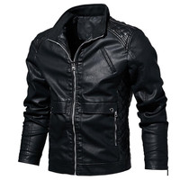 Spring and autumn new men's leather jacket Slim motorcycle PU leather jacket men's jacket coat large size