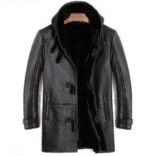 Free shipping,Winter Sheep fur coat,long 100% wool Shearling,mans warm leather jacket,men sheepskin plus size jackets.original
