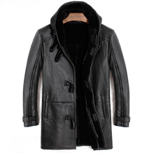 Il trasporto libero, Inverno cappotto di pelliccia di Pecora, lungo 100% di lana Shearling, caldo giacca di pelle, gli uomini di pelle di pecora più il formato giacche. originale