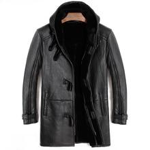 Miễn phí vận chuyển, Mùa Đông Cừu áo khoác lông thú, dài 100% len Lông Cừu, người đàn ông của da ấm áo khoác, người đàn ông da cừu cộng với kích thước áo khoác. ban đầu
