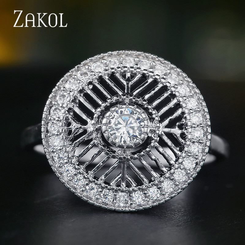 ZAKOL Valentine's Day DEALS Vintage Clear CZ Circle Round Openwork Finger Rings for Women Party Jewelry FSRP2055 image