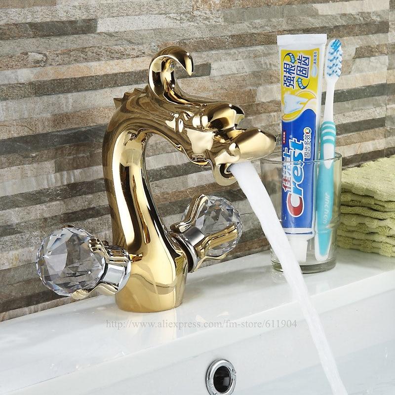 Gold Color Dargon Bathroom Faucet Bath Lavatory Basin Sink ...