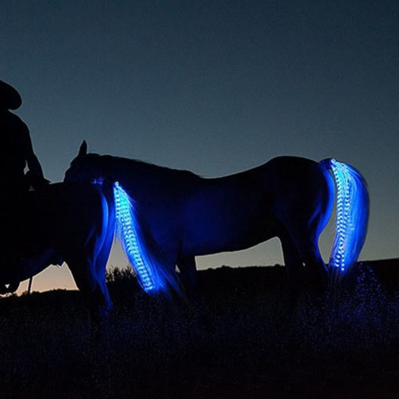 100CM Led Colorful Horse Tail USB Lights Chargeable LED Crupper Horse Riding Harness Equestrian Sports The Lights Horse Tail T