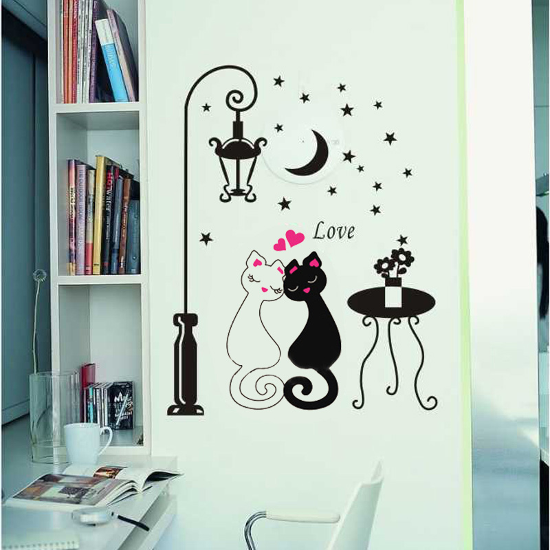 Wall Decor DIY Cute Couples Cats Cartoon Wall Sticker Bedroom Decor Bookcase Cupboard Sticker Home Hotel Decoration Wallpaper