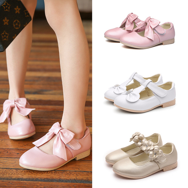 Girls Leather Shoes Princess Mary Jane Bow Flower Dress Shoes