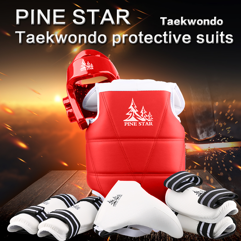 high quality taekwondo protectors suit 6pieces for adult kids training competition helmet arm/shin guard chest groin protector amazing set pine star 1set 5pcs taekwondo protectors groin guards chest guard arm leg protector proforce shin headgear helmet