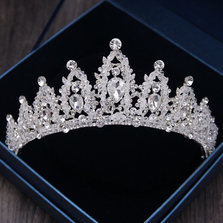 Baroque Luxury Handmade Rhinestone Bridal Crown Tiaras Silver Crystal Diadem Tiaras for Bride Headbands Wedding Hair Accessories 8