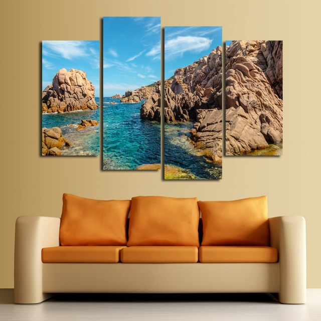Unframed 4 panel Seaview Stone Large HD Picture Modern Home Wall Decor Canvas Print Oil Painting Stickers Home Decor