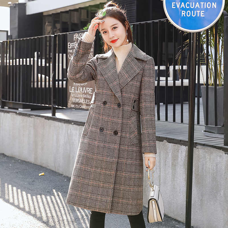 2018 neue Herbst Plaid Mantel Lange Winter Wolle Mantel Für Frauen drehen-unten Kragen Zweireiher Dünne Woolen Mantel wolle Mischung