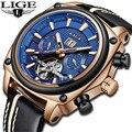 Relojes mecánicos de lujo de marca LIGE para Hombre, reloj militar deportivo informal a la moda, reloj Tourbillon a prueba de agua para Hombre