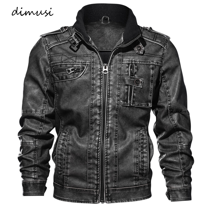DIMUSI Men Autumn Winter PU Leather Jacket Motorcycle Leather Jackets Male Business casual Coats Brand clothing