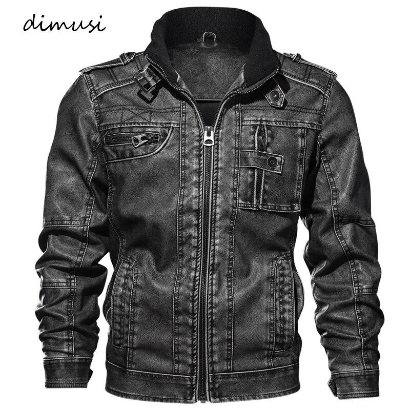 Dimusi Для мужчин осень-зима Босоножки из искусственной pu Кожи Мотоциклетные Кожаные куртки мужской Бизнес повседневные пальто брендовая оде...