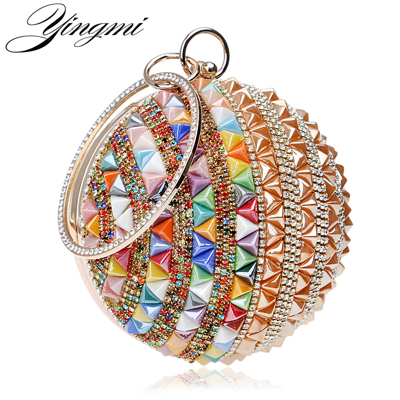 New Arrival Rivet Fashion Women Evening Bags Colorful Candy Lady Summer Day Clutches Purse With Diamonds Luxurious Party Bag new arrival set of four rivet with embossing backpack female rivet woolly bear pendant with fashion backpacks b 40