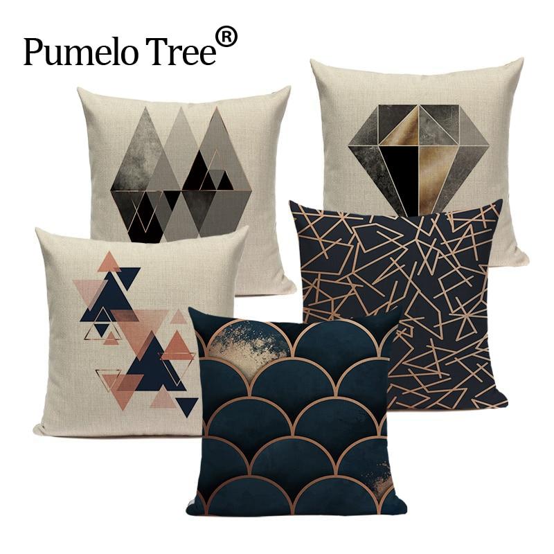 Geometric Black Blue Cushion Cove Textile Hill Gold Dero Throw Pillows Covers 45Cmx45Cm Square Sofa Bed 3D Throw Pillow Cover