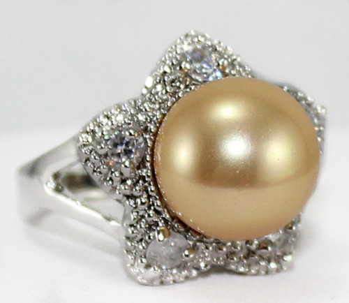 FREE shipping wholesale noble jewelry 12mm golden shell pearl silver plated Ring(#6.7.8)