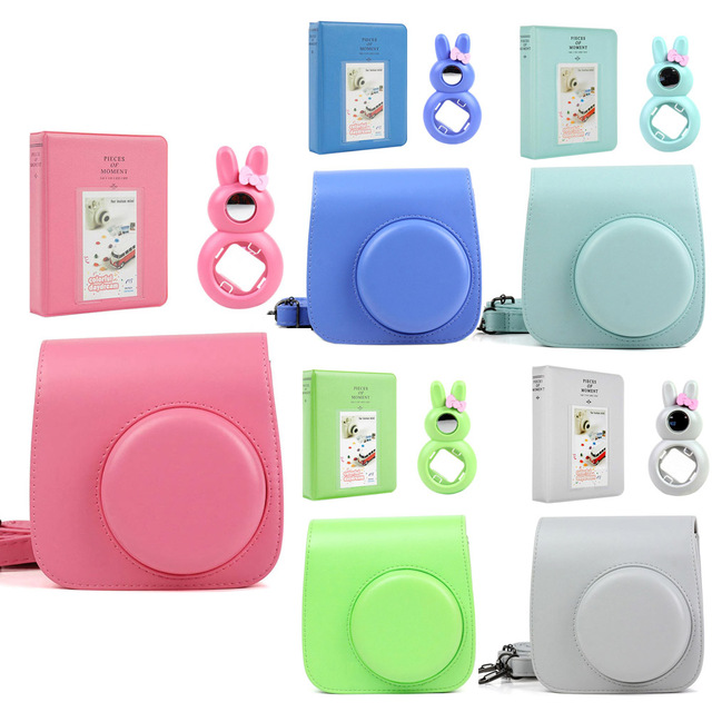 5 Colors Quality PU Leather Camera Case + Photo Album + Rabbit Selfie Lens for Fujifilm Instax Mini 9/Mini 8 Instant Film Camera