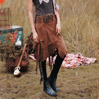 2017Autumn folk style suede long section irregular fringed skirt women gypsy bohemian boho vintage skirt