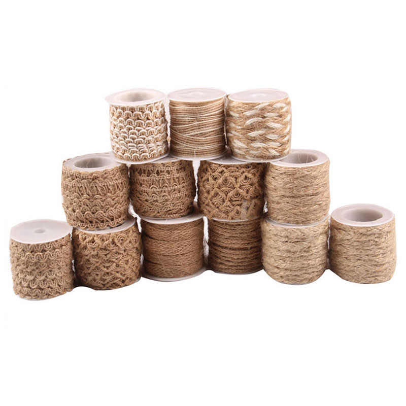 5M Burlap Hessian Roll Jute Twine Cord Hemp Rope String Trim Rustic Wrap Gift Party Packing String Wedding Decoration Cord