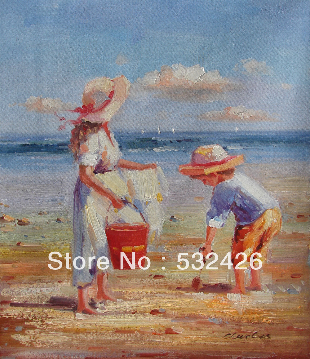 Kids Playing Sea Beach Sand Shovel Pail 20X24 Handpainted Oil Painting On Canvas Wall Art Home Deco Children Room Free Shipping In Calligraphy