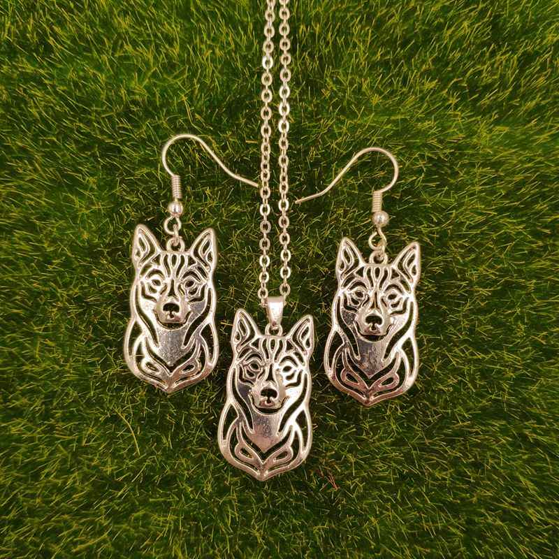 2018 Mdogm Swedish Vallhund Dog Animal Jewelry Sets Necklace Drop Earrings Cute Pendant For Women Female Wedding Christmas T129