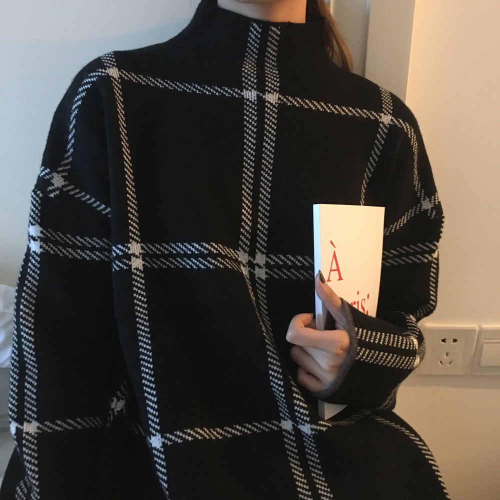 Зимний свитер женский плед Водолазка Свитера 2019 новый теплый длинный рукав вязаный свитер Женский Повседневный Свободный пуловер Mujer