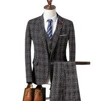 Мужской Блейзер YUSHU, деловой костюм из 3 предметов для свадебного и выпускного бала, смокинги в клеточку