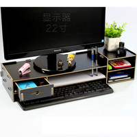 Desktop Monitor Stand, Wooden Monitor Riser TV Stand,with Slots for Office Supplies and Storage Space for Keyboard and Mouse