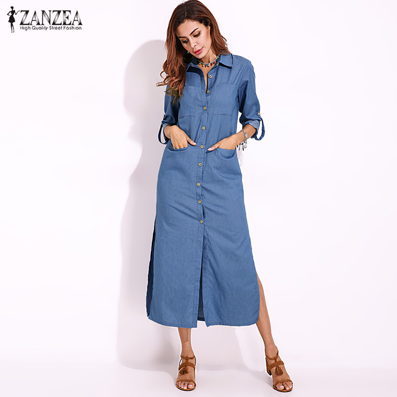 9d387d481b5 2018 ZANZEA Women Autumn Denim Blue Long Sleeve Turn-down Collar Buttons  Down Casual Split Long Shirt Dress Vestido Plus Size