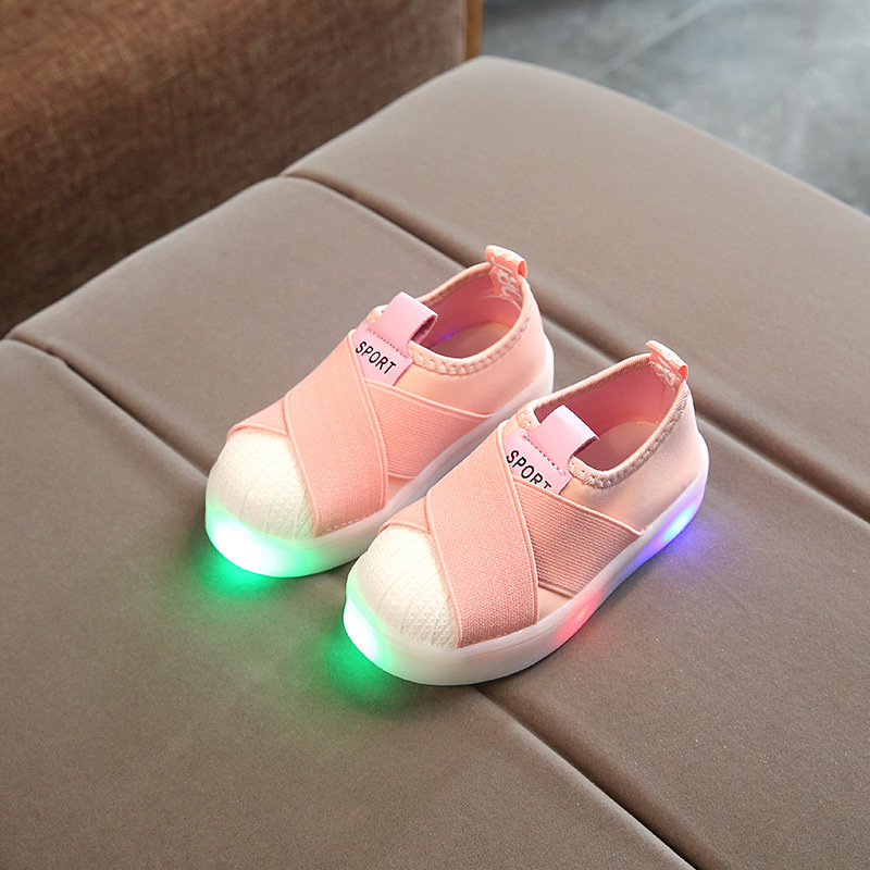 kids Solid soft shoes Spring Autumn lights flash LED boys school girls student Sneakers 21-30
