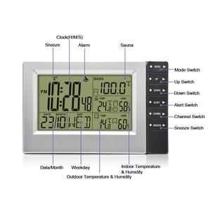 Image 3 - Wireless Weather Station Digital Display Alarm Clock Sauna Temperature Indoor Outdoor Thermometer Hygrometer most up 4 Sensors